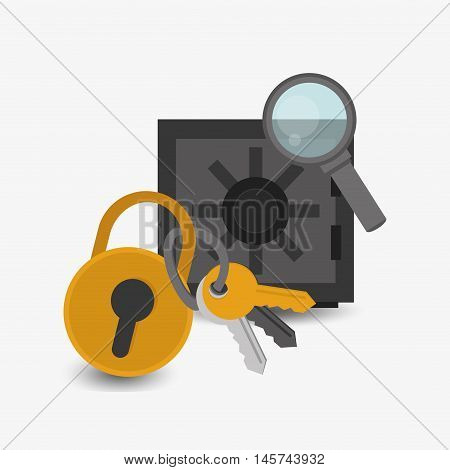 safety lock with keys deposit box and magnifying glass system security design