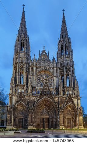 Saint-Ouen Abbey Church is a large Gothic Roman Catholic church in Rouen Normandy France. Evening.