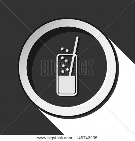 black icon - glass with carbonated drink and straw white stylized shadow