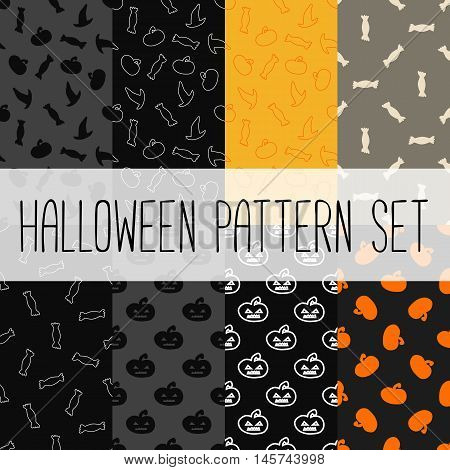 Set of eight seamless patterns for Halloween. 8 vector illustrations.