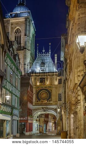 The Great-Clock (French: Gros-Horloge) is a fourteenth-century astronomical clock in Rouen Normandy Evening