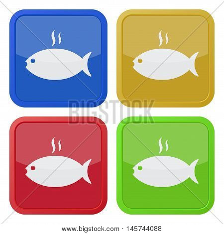 set of four colored square icons - grilling fish with smoke