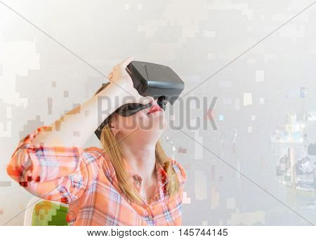 Young girl in a virtual reality headset. Glitch design for modern projects.