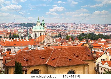 Aerial view over Old Town in Prague