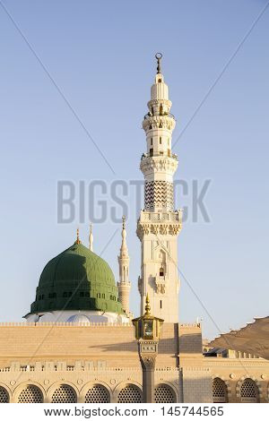 Medina is a city in western Saudi Arabia. In the city center, the vast Al-Masjid an-Nabawi (Prophet's Mosque) is a major Islamic pilgrimage site. Its striking Green Dome rises above the tombs of the Prophet Muhammad and early Islamic leaders Abu Bakr and