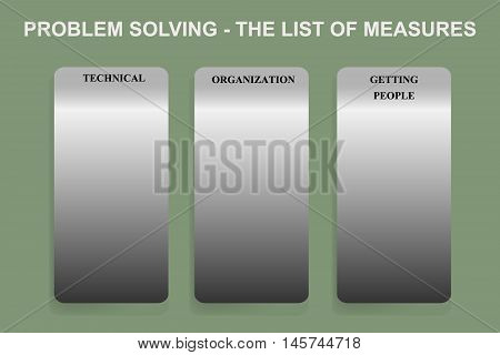 Exercise sheet for method of problem solving - The list of measures in Lean Management methodology.