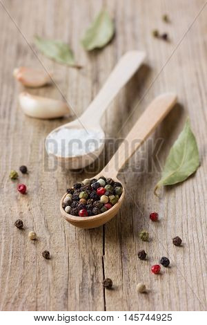 Peppercorns, sea salt in a wooden spoon with garlic and bay leaf on a rustic table.