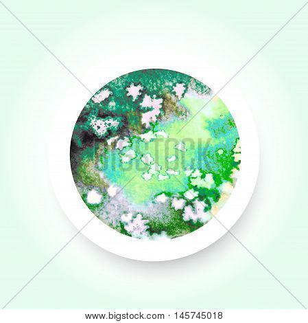Abstract green colorful watercolor wash with the salt technique round sticker. Vector EPS-10 file transparency used.