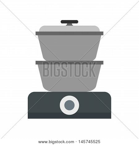 Steam cooker icon in flat style isolated on white background. Home appliances symbol vector illustration