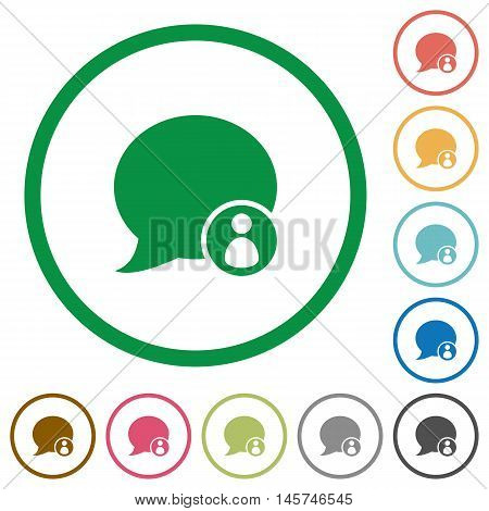 Set of blog comment owner color round outlined flat icons on white background