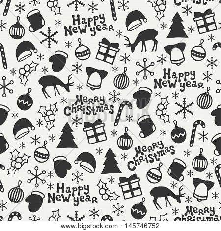 Merry Christmas and Happy New Year 2017. Christmas season hand drawn seamless pattern. Vector illustration. Doodle style. Decorations. Winter holiday backgrounds for design. Deer, snowflakes