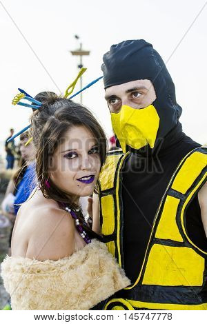 QUARTU S.E., ITALY - August 2, 2015: Beach Cosplay Party - costume parade held at the Marlin Club of Poetto Beach - Sardinia - portrait cosplay costume