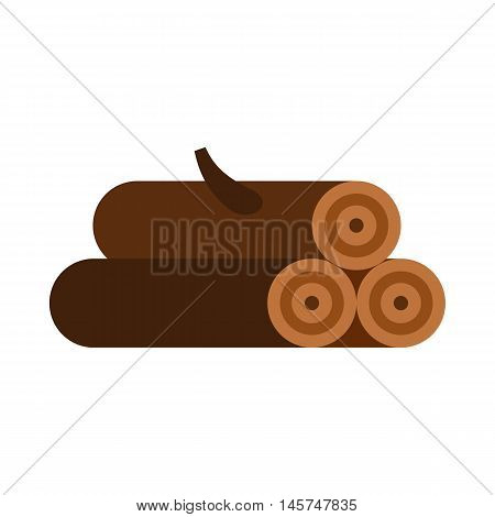 Logs of trees icon in flat style isolated on white background. Felling symbol vector illustration