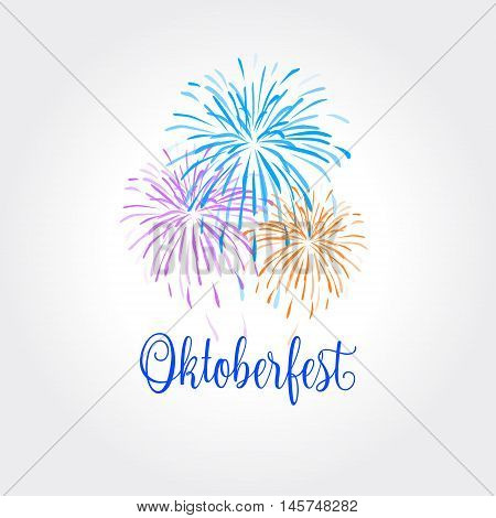 October festival abstract background with fireworks. Vector illustration. Holiday card. OKTOBERFEST. October festival Vector illustration. Germany's Oktoberfest world's biggest wine festival. Oktoberfest and Bavarian beer festival. 2016