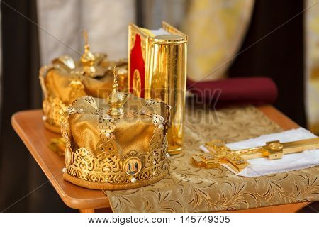 Golden crowns for wedding ceremony in the Orthodox Church