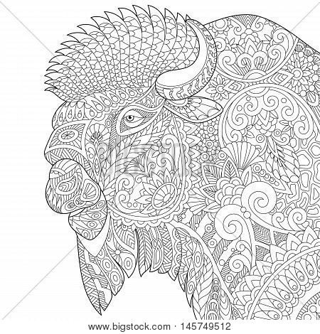 Stylized buffalo (american bison bull ox yak aurochs) isolated on white background. Freehand sketch for adult anti stress coloring book page with doodle and zentangle elements.