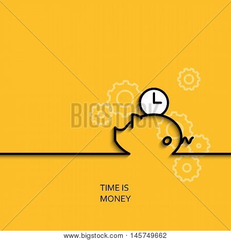 Vector business illustration in linear style with a picture of time is money as piggybank and clock on yellow background poster or banner template.