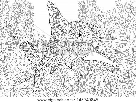 Stylized underwater composition of shark seaweed corals and treasure chest full of gold. Freehand sketch for adult anti stress coloring book page with doodle and zentangle elements.