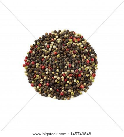 Peppercorns spices isolated on a white background.