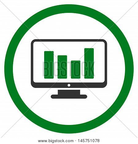 Bar Chart Monitoring rounded icon. Vector illustration style is flat iconic bicolor symbol, green and gray colors, white background.