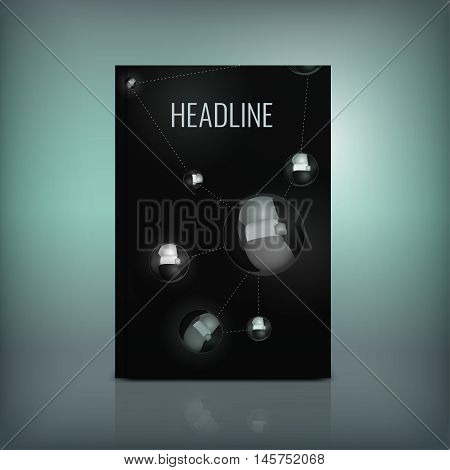 Vector abstract brochure cover template. Modern background for poster, print, flyer, book, booklet, brochure and leaflet design. Editable graphic image in silver, grey and black metallic colors