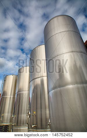 Modern steel tanks in a beer brewery