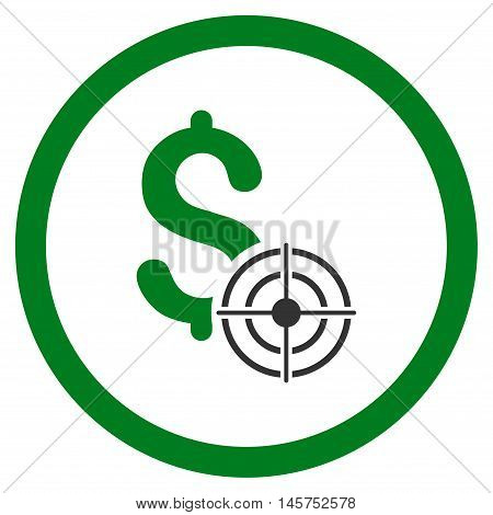 Business Target rounded icon. Vector illustration style is flat iconic bicolor symbol, green and gray colors, white background.