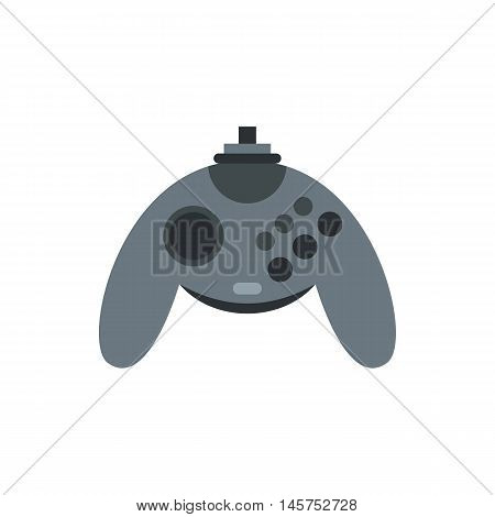 Gray joystick icon in flat style isolated on white background. Play symbol vector illustration