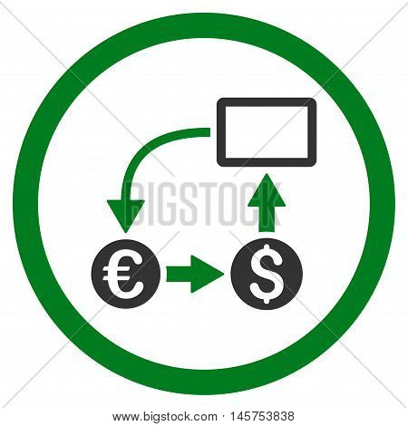 Cashflow Euro Exchange rounded icon. Vector illustration style is flat iconic bicolor symbol, green and gray colors, white background.