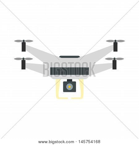 Drone with camera icon in flat style isolated on white background. Device symbol vector illustration