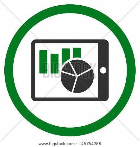Charts on Pda rounded icon. Vector illustration style is flat iconic bicolor symbol, green and gray colors, white background.