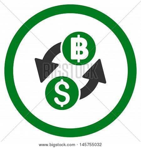 Dollar Baht Exchange rounded icon. Vector illustration style is flat iconic bicolor symbol, green and gray colors, white background.