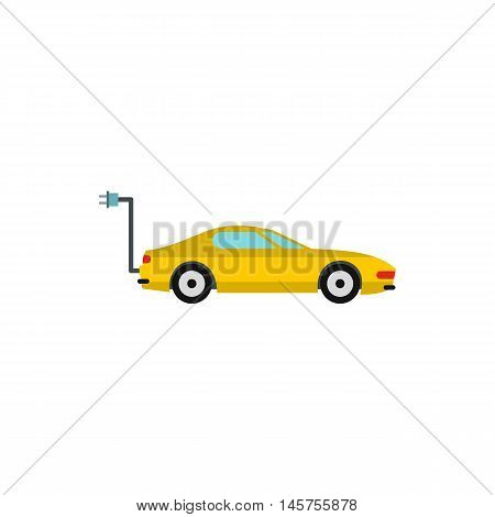Electro car icon in flat style isolated on white background. Innovation symbol vector illustration