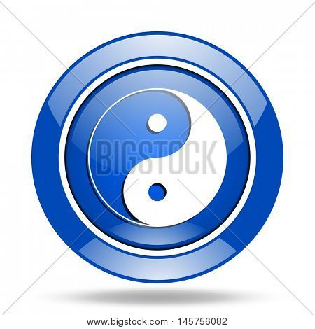 Blue glossy round web ying yang vector icon