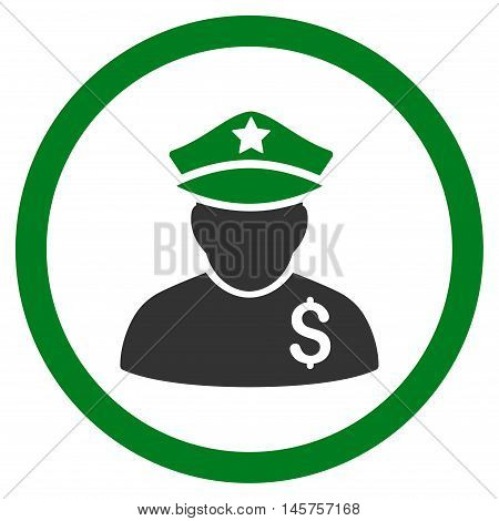 Financial Policeman rounded icon. Vector illustration style is flat iconic bicolor symbol, green and gray colors, white background.