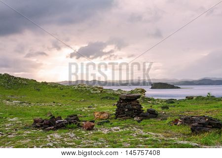 Windstorm over Baikal lake. Maloe more, Russia