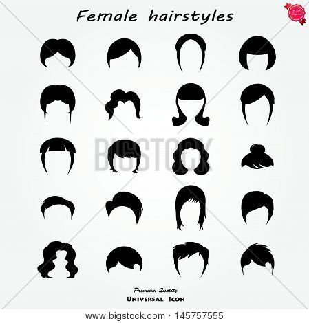 Set of female hairstyles. Vector icons set