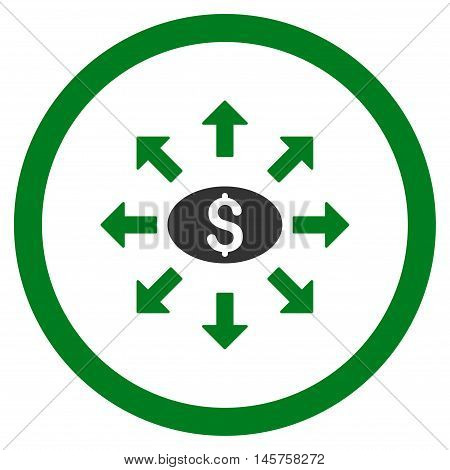Mass Cashout rounded icon. Vector illustration style is flat iconic bicolor symbol, green and gray colors, white background.