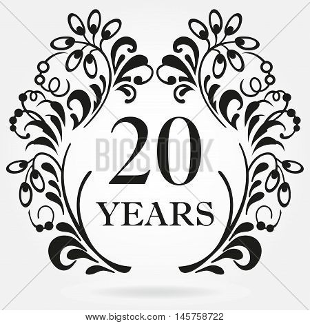 20 years anniversary icon in ornate frame with floral elements. Template for celebration and congratulation design. 20th anniversary label. Vector illustration.