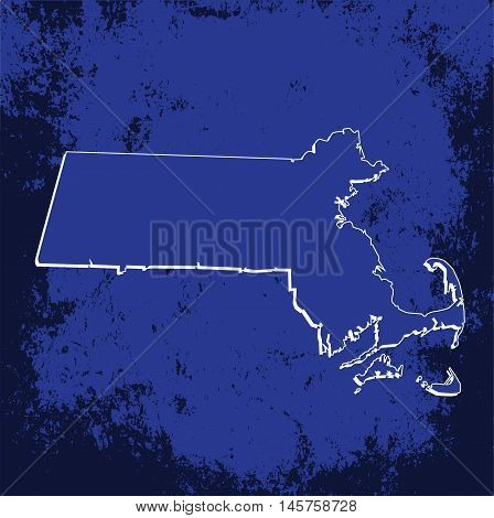 3D Massachussets (USA) Grunge Blueprint Boundary map with shadow
