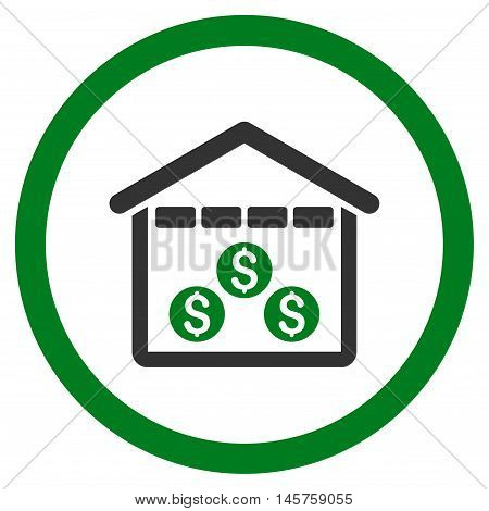 Money Depository rounded icon. Vector illustration style is flat iconic bicolor symbol, green and gray colors, white background.