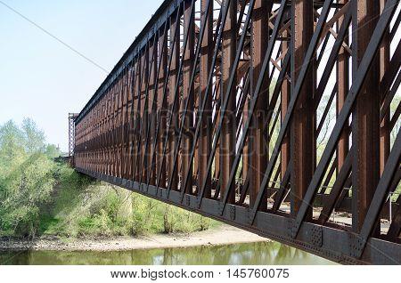Wrought iron railway bridge in Griethausen Germany