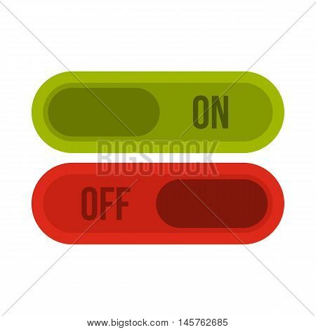 Button on and off icon in flat style isolated on white background. Click and choice symbol vector illustration