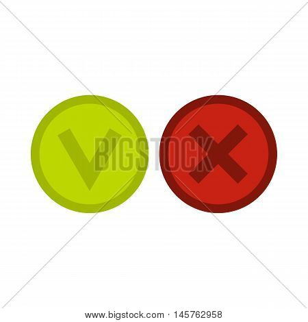 Signs of choice of tick and cross icon in flat style isolated on white background. Click and choice symbol vector illustration