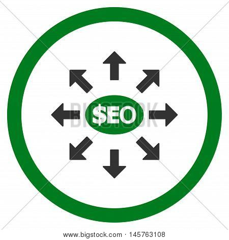 Seo Marketing rounded icon. Vector illustration style is flat iconic bicolor symbol, green and gray colors, white background.