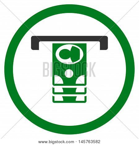 Withdraw Banknotes rounded icon. Vector illustration style is flat iconic bicolor symbol, green and gray colors, white background.