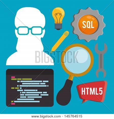woman girl glasses lupe gear tools developer web responsive development website programming icon set. Colorful design. Vector illustration