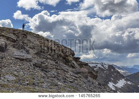 Silhouette Of A Man On A Mountain - Jasper National Park