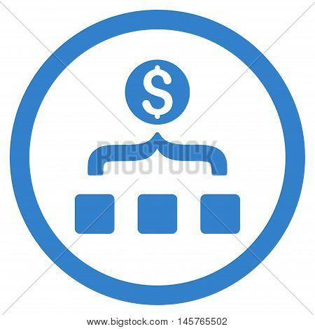 Money Aggregator rounded icon. Vector illustration style is flat iconic symbol, cobalt color, white background.