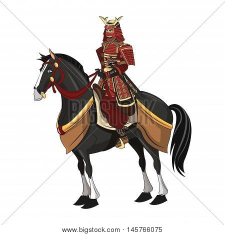 Samurai man cartoon on horse with uniform icon. comic and japan culture. Colorful and isolated design. Vector illustration